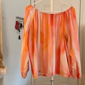 Orange L/S elastic sleeve blouse